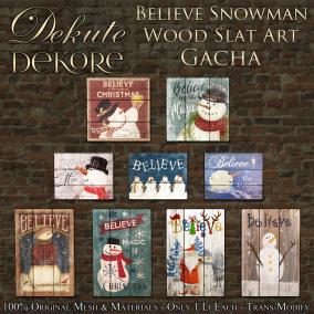 Believe Snowman Wood Slat Art Gacha - Key _ by Dekute Dekore