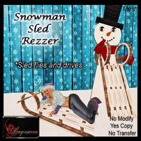 100% Donation Snowman Sled Rezzer