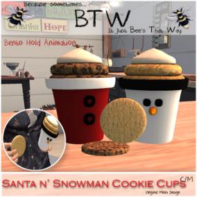 BTW - Santa n' Snowman Cookie Cups AD