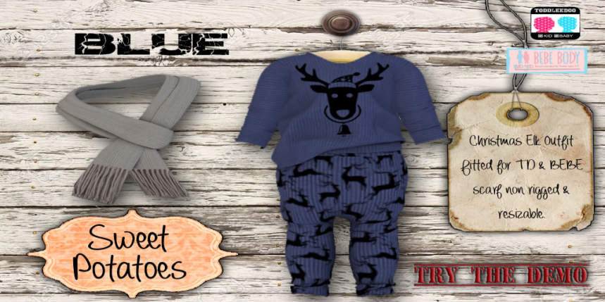 Christmas Elk Outfit_Blue