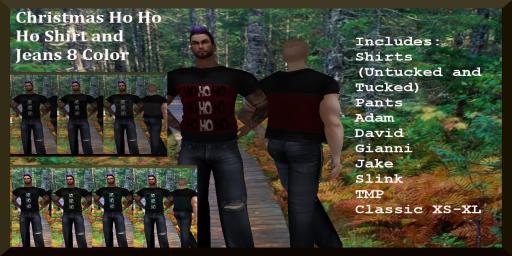 Christmas Ho Ho Ho Shirt and Jeans 8 Color