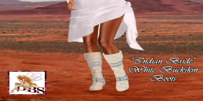 _DBS_ Ladies Boots - Indian Bride White Buckskin Boots