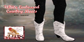 _DBS_ Ladies Boots - White Embossed Cowboy Boots