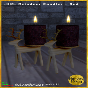 Harvest Moon - Reindeer Candles - Red