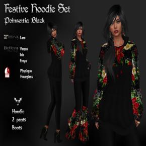 Indigenous - Festive Hoodie Set Poinsettia Black Pic