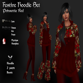 Indigenous - Festive Hoodie Set Poinsettia Red Pic