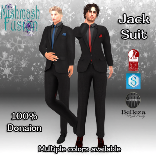 Jack Suits Black and Colors 100% Donation