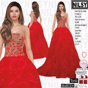 NILSY GOLD BRODERIE GOWN,ALL BODIES