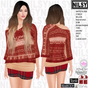 NILSY OFFSHOULDER SNOWFLAKE SWEATER AND SKIRT,ALL BODIES