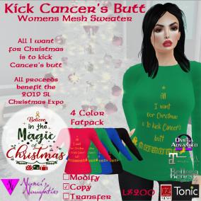 NN Kick Cancer's Butt Womens Sweater ad