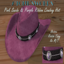 Pink Suede Ribbon CB Hat Stone's Works_texture