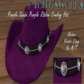 Purple Suede Ribbon CB Hat Stone's Works_texture