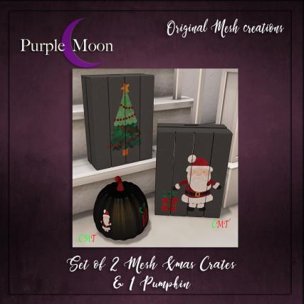 _PurpleMoon - Set of 2 Xmas crates & 1 Pumpkin_